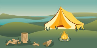 Camping tent on hill flat vector illustration