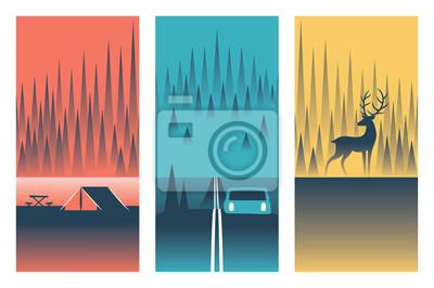 Camping, vector flat illustration