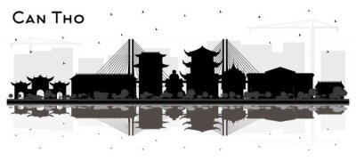 Can Tho Vietnam City Skyline Silhouette with Black Buildings and Reflections Isolated on White.
