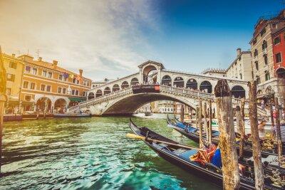 Sticker Canal Grande mit Rialto-Brücke bei Sonnenuntergang, Venedig, Italien