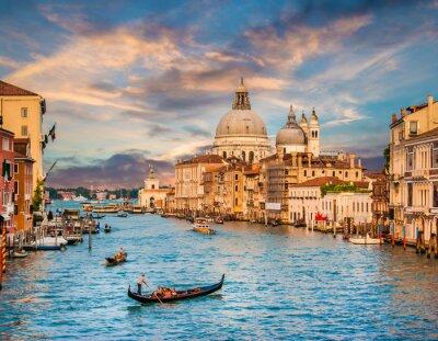 Sticker Canal Grande mit Santa Maria Della Salute bei Sonnenuntergang, Venedig, Italien