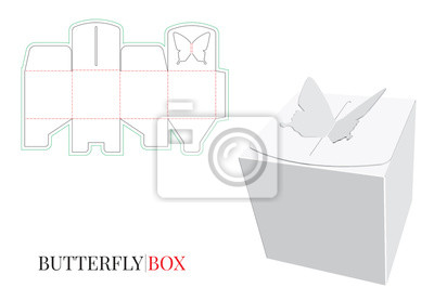 Candy Box Butterfly, Gift Box. Vector with die cut / laser cut layers. Isolated, blank, white Candy Box mock up on white background with perspective view. Self locking Box, without using Glue, 3D