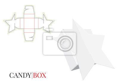 Candy Box, Gift Box, Paper Pack, Self Locking Box Illustration. Vector with die cut / laser cut layers.  White, clear, blank, isolated Gift Box Star mock up on white background, 3D.