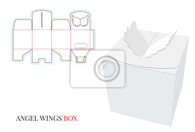 Candy box / gift box with angel wings. Vector with die cut / laser cut layers. Isolated, blank, white box on white background, perspective view, 3D presentation