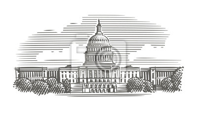 Capitol building engraving style illustration. Vector. Isolated. Sky/building layered.