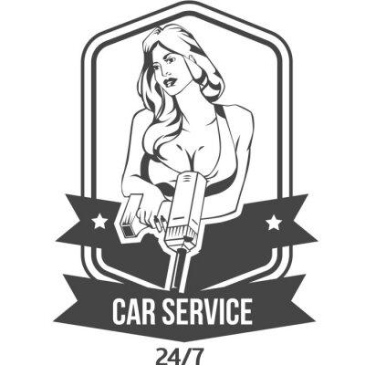 Sticker Car Service Retro Vintage-Abzeichen mit sexy Frau hält Bohrer