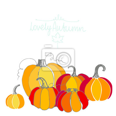 Card with different pumpkins