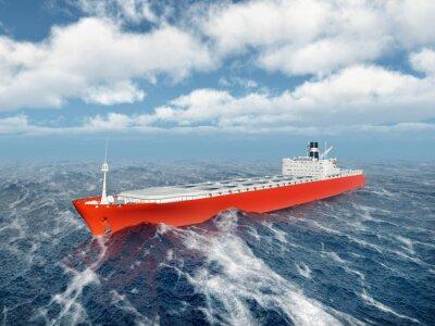 Sticker Cargo ship in the stormy ocean