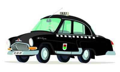 Sticker Caricatura GAZ Volga M21 Taxi Praga - Checoslovaquia negro vista frontal y seitlich