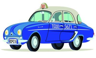Sticker Caricatura Renault Dauphine Taxi Saigon - Vietnam vista frontal y seitlich
