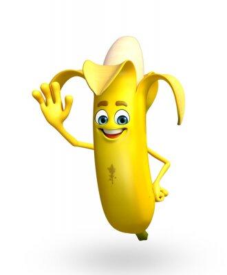 Sticker Cartoon Charakter der Bananenfrucht