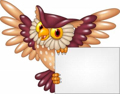 Sticker Cartoon Eule Vogel fliegen mit leeren Zeichen