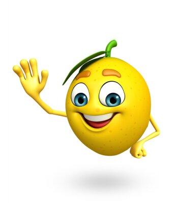 Sticker Cartoon-Figur der Zitrone