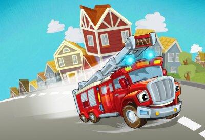Sticker cartoon fire brigade driving through the city - illustration for children