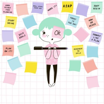cartoon funny nerdy planner girl writing inspirational phrases on note paper
