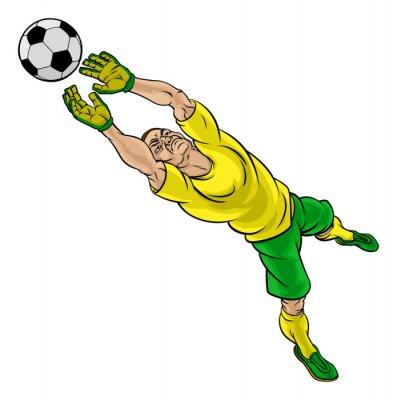 Sticker Cartoon Fussball Fussball Torwart Spieler