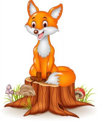 Sticker Cartoon glücklich Fuchs sitzt auf Baumstumpf
