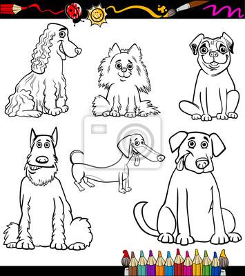 Cartoon hunderassen malvorlagen notebook-sticker • wandsticker Spitz ...