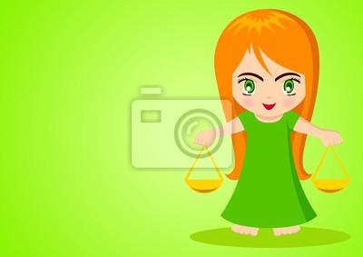 Cartoon Illustration der Waage auf grünem Hintergrund