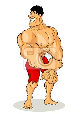 Cartoon Illustration eines muskulösen Mann Abbildung