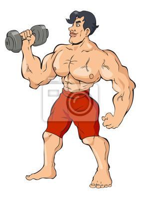 Cartoon Illustration eines muskulösen Mann mit einer Hantel