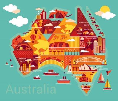 Sticker Cartoon Karte von Australien