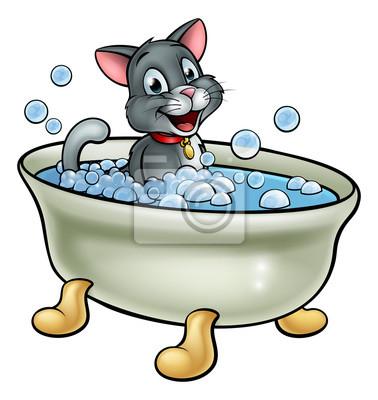 Cartoon Katze Waschen In Der Badewanne Notebook Sticker