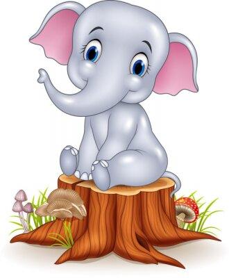 Sticker Cartoon lustige Baby-Elefanten sitzen auf Baumstumpf