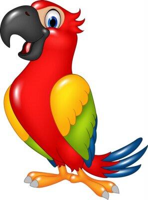 Sticker Cartoon lustige Papagei isoliert auf weißem Hintergrund
