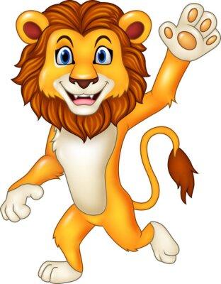 Sticker Cartoon lustiges Löwewellen