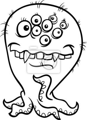 Cartoon Monster Illustration Zum Ausmalen Notebook Sticker