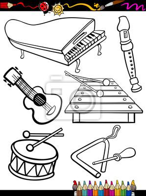 Cartoon Musikinstrumente Ausmalbilder Notebook Sticker Wandsticker