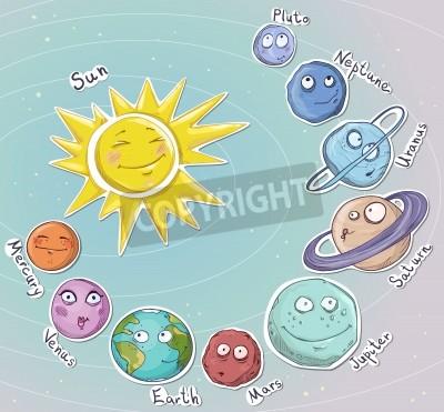 Sticker Cartoon Planeten Sonnensystem Vector illustration