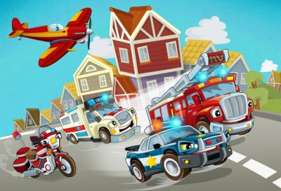 Sticker cartoon scene with fireman vehicle on the road with police car and ambulance - illustration for children