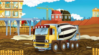Sticker cartoon scene with industry cars on construction site - illustration for children