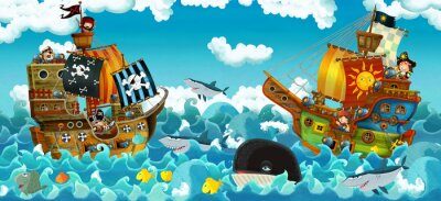 Sticker cartoon scene with pirates on the sea battle - illustration for the children