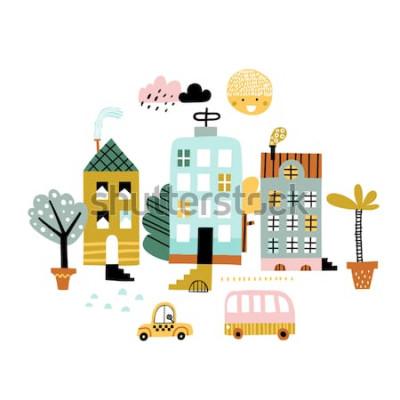 Sticker Cartoon Stadt drucken. Kindische Vektorillustration mit Wolkenkratzer, Gebäuden und Autos. Entwurf für Plakat, Karte, Tasche und T-Shirt, Umschlag. Pastellfarben. Skandinavischer Stil.