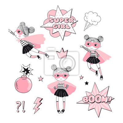 Cartoon Supergirl characters and elements set. Girlish Pink Super Hero themed vector doodle graphics. Perfect for little girl design like t-shirt textile fabric print birtday party art wall poster