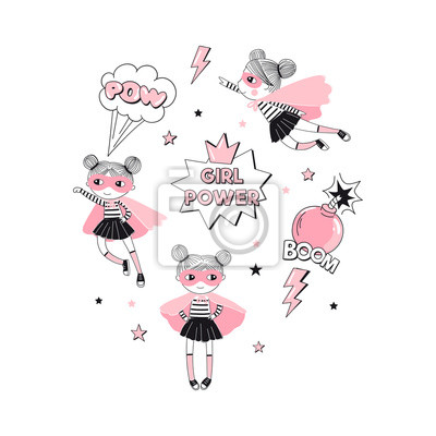Cartoon Supergirl characters and elements t-shirt graphic print. Girlish Pink Super Hero themed vector doodle graphics. Perfect for little girl design like textile fabric print birtday party art wall