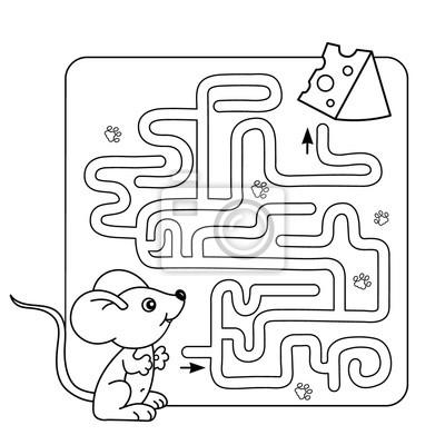 Cartoon vektor-illustration der bildung labyrinth-spiel für vorschul ...