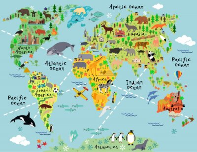 Sticker Cartoon Weltkarte