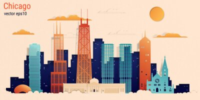Chicago city colorful paper cut style, vector stock illustration. Cityscape with all famous buildings. Skyline Chicago city composition for design.