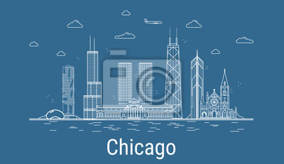 Chicago city, Line Art Vector illustration with all famous towers. Linear Banner with Showplace. Composition of Modern buildings, Cityscape. Chicago buildings set.