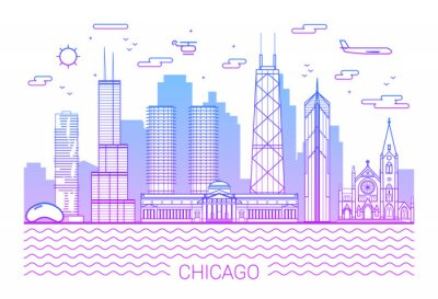 Chicago city, Pink Line Art Vector illustration with all famous towers. Linear Banner with Showplace. Chicago buildings set. White background and pink line. White background and pink line.