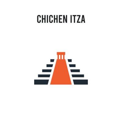Sticker Chichen Itza vector icon on white background. Red and black colored Chichen Itza icon. Simple element illustration sign symbol EPS