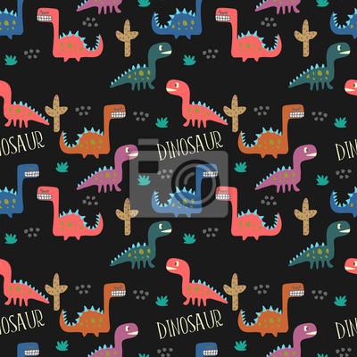 Childish dinosaur drawing seamless pattern background.
