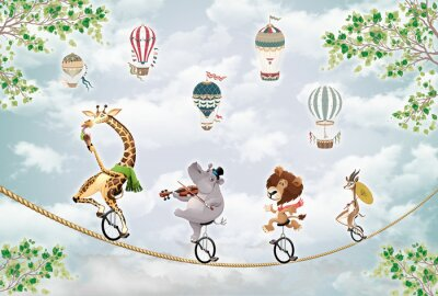 Sticker children's picture, animals on a wheel ride on a tightrope against the sky with balloons
