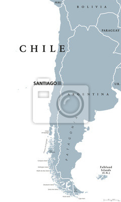 Südamerika Karte Ohne Beschriftung.Sticker Chile Politische Karte Mit Hauptstadt Santiago Landesgrenzen