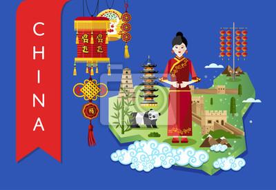 China berühmten traditionellen Wahrzeichen und Reise-Karte mit asiatischen Mädchen auf blauem Hintergrund, Vektor-Illustration. Zeit zu reisen Konzept. Asiatische Architektur und traditionelle Symbole