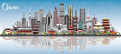 China City Skyline with Gray Buildings, Blue Sky and Reflections. Famous Landmarks in China.